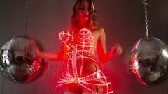 Silver sexy babe dancer diva party disco woman led corset Stock Footage