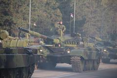 Serbain Army On Military Parade October 14th 2014. Stock Photos