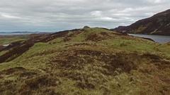 Aerial views of irish landscape between Lough Greenan and Lough Salt Stock Footage