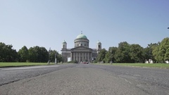Basilica in Esztergom, Hungary with gimbal, in slow motion Stock Footage
