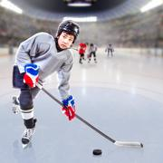 Junior Ice Hockey Player in Crowded Arena Stock Photos