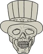 Uncle Sam Top Hat Skull Drawing Stock Illustration