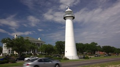 Biloxi Lighthouse in The Gulf Coast State of Mississippi Stock Footage