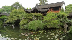 Beautiful antique Chinese villa with pavilion and pagoda style in China Stock Footage