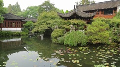 Beautiful ancient Chinese villa with pavilion and pagoda style in China Stock Footage