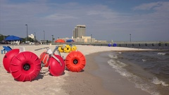 Beach Tricycles Along the Mississippi Gulf Coast in Biloxi, MS Stock Footage