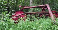 Overgrown Farm Equipment Sits Abandoned in the Forest Stock Footage