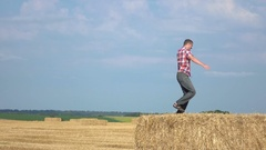 Dancing on the hay Stock Footage