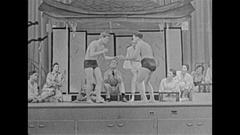 Vintage 16mm film, 1959 sumo wrestling on stage Stock Footage