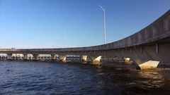 Freeway Interchange Over Gulf of Mexico in Biloxi, Mississippi Stock Footage