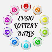 Vector illustration of lottery balls. sorted around text. Piirros