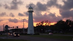 Biloxi Lighthouse at Sunset in The Gulf Coast State of Mississippi Stock Footage