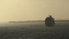 Ocean liner onthe  horizon Stock Footage