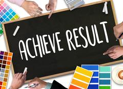 ACHIEVE RESULT , Results compass , businessman ACHIEVE RESULT ,  Results an.. Stock Photos