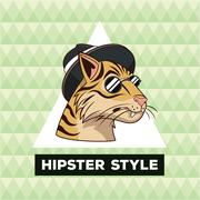 Portrait tiger hipster style green geometric background Stock Illustration
