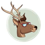 Portrait deer hipster style sunglasses and piercing Stock Illustration