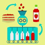 Strawberry juice fabrication process Stock Illustration