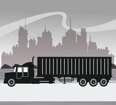 Silhouette truck transport container urban background Stock Illustration