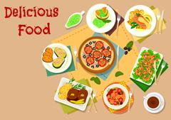 Seafood and olive dishes icon set for menu design Stock Illustration
