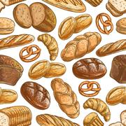 Bakery bread and pastry dessert seamless pattern Piirros
