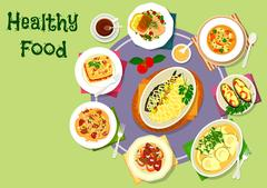 Nutritious dinner with meat and fish dishes icon Stock Illustration