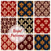 Royal vector seamless patterns set Stock Illustration