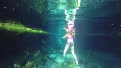 Swimming in clear Mataranka hot water springs pool Stock Footage