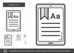 Ebook line icon Stock Illustration