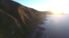 Aerial view of scenic coastal highway in Kapiti, New Zealand Stock Footage
