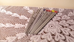 A set of metal needles for knitting. Stock Footage