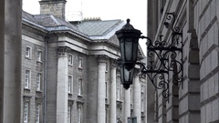 Republic of Ireland city of Dublin Collage Green building of Irish Government Stock Footage