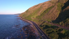Scenic coastal highway aerial view Stock Footage