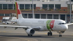 Airbus TAP Portugal Taxi Turn Madeira Airport Stock Footage
