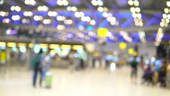 Travelers passengers in terminal airport, out of focus and blurry Stock Footage
