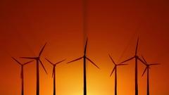 Wind power at sunrise Stock Footage