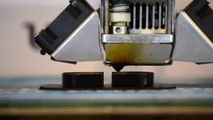 Print black details on the printer 3D close-up. Stock Footage