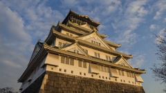Sunset view of the famous Osaka Castle Stock Footage