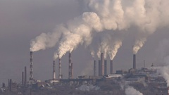 Smoke From Chimneys of Plant. Ecological Problem. Stock Footage