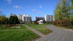 City landscape of district Zelenograd, Russia Stock Footage