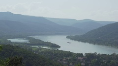 Landscape at a hungarian mountain with river Dunau, Danube Stock Footage