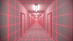 Endless white corridor doors neon tron 80s arcade glow loop wireframe matrix 4K Arkistovideo