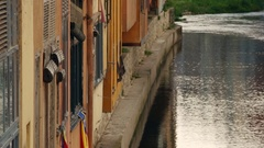Girona river houses. Stock Footage