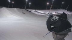 A skier jumps from a springboard Stock Footage