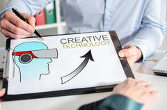 Creative technology concept on a clipboard Stock Photos