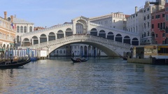 4k Venice Rialto Bridge Tracking Away down the Grand Canal Stock Footage