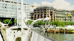 Ship Tour in Geneva Stock Footage