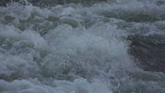 Stunning Slow Motion River Water Flow with White Foam Closeup Stock Footage
