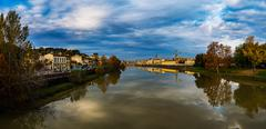 Panorama of Florence on background of Arno river Stock Photos