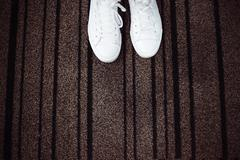 White sneakers with space for text. Stock Photos