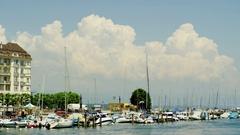 Marina at Lake Geneva in Genève Stock Footage